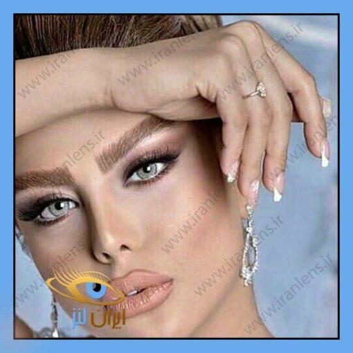 تصویر رنگ لنز لنا گری روی چشم مدل