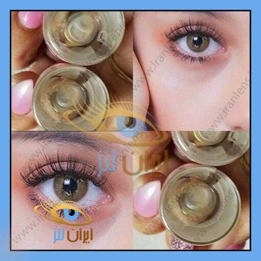 تصویر رنگ لنز براون روی چشم مدل