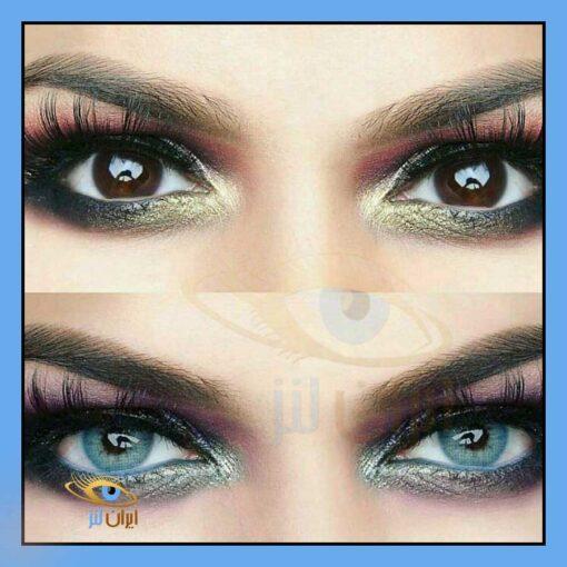 رنگ لنز بلو روی چشم مدل