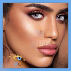 فروش لنز چشم رنگی و طبی هیند روزانه و سالانه طوسی آبی بدون دور دهب