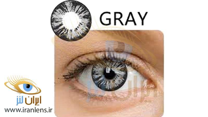 لنز چشم طوسی خاکستری رنگی دوردار مشکی