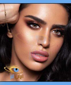 فروش لنز چشم رنگی و طبی آرگان روزانه و سالانه قهوه ای عسلی دوردار برند دهب
