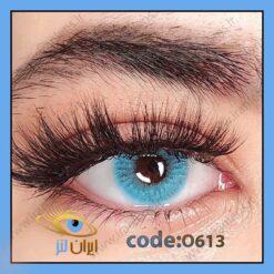 لنز چشم رنگی زیبایی آبی فیروزه ای بدون مره و بدون دور فصلی دیپ بلو برند اپرا