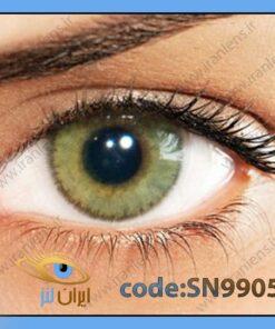 لنز چشم رنگی زیبایی بدون نمره دوردار خاکی با ته رنگ سبز روشن سالانه مل برند سولوتیکا