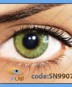 لنز چشم رنگی زیبایی بدون نمره دوردار خاکی با ته رنگ سبز متوسط روشن سالانه امبر برند سولوتیکا