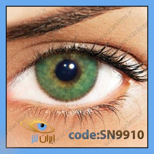 لنز چشم رنگی زیبایی بدون نمره دوردار سبز جنگلی متوسط روشن سالانه اسمیرالدا برند سولوتیکا