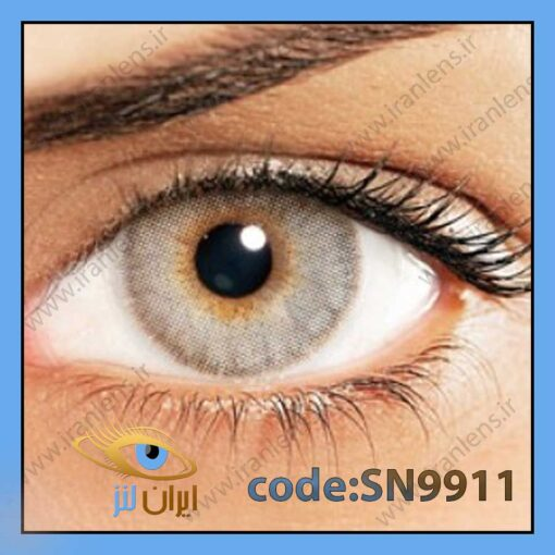 لنز چشم رنگی زیبایی بدون نمره دوردار طوسی لیمویی روشن سالانه کریستال برند سولوتیکا