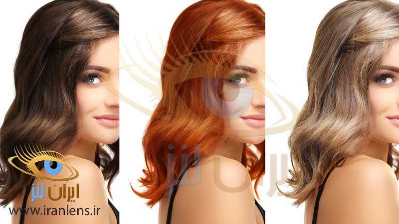رعایت تناسب رنگ مو با رنگ لنز چشم