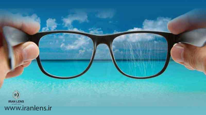 از بین بردن خط و خش عدسی عینک